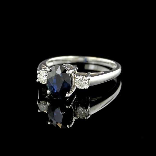 14K White Gold Sapphire and 2 Diamond Ring