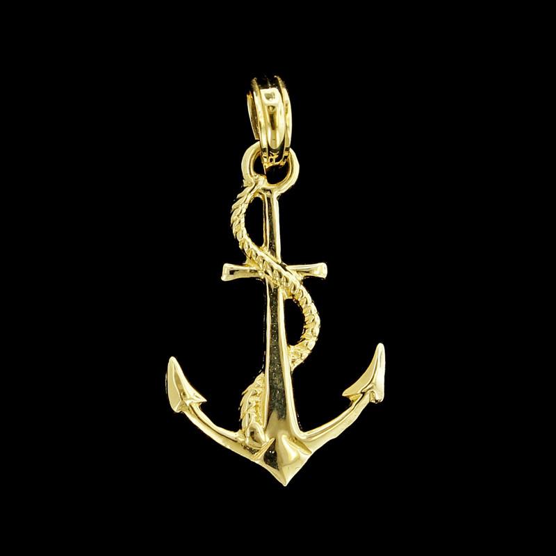 14K_Yellow_Gold_Anchor_Charm Summer Beach Jewelry