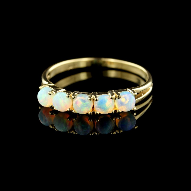 14K Yellow Gold Five Stone Opal Band - Vintage Opal Ring