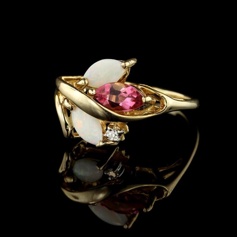 14K Yellow Gold Opal, Pink Tourmaline, & Diamond Ring - Vintage Opal Ring