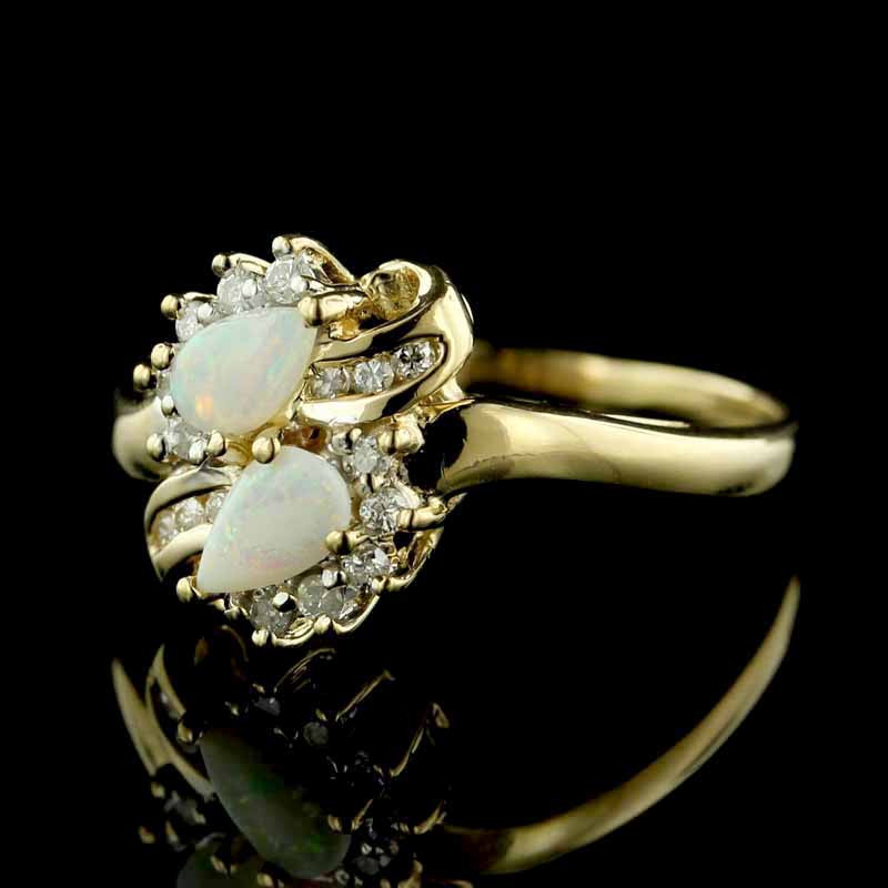 14K Yellow Gold Opal and Diamond Ring - Vintage Opal Ring