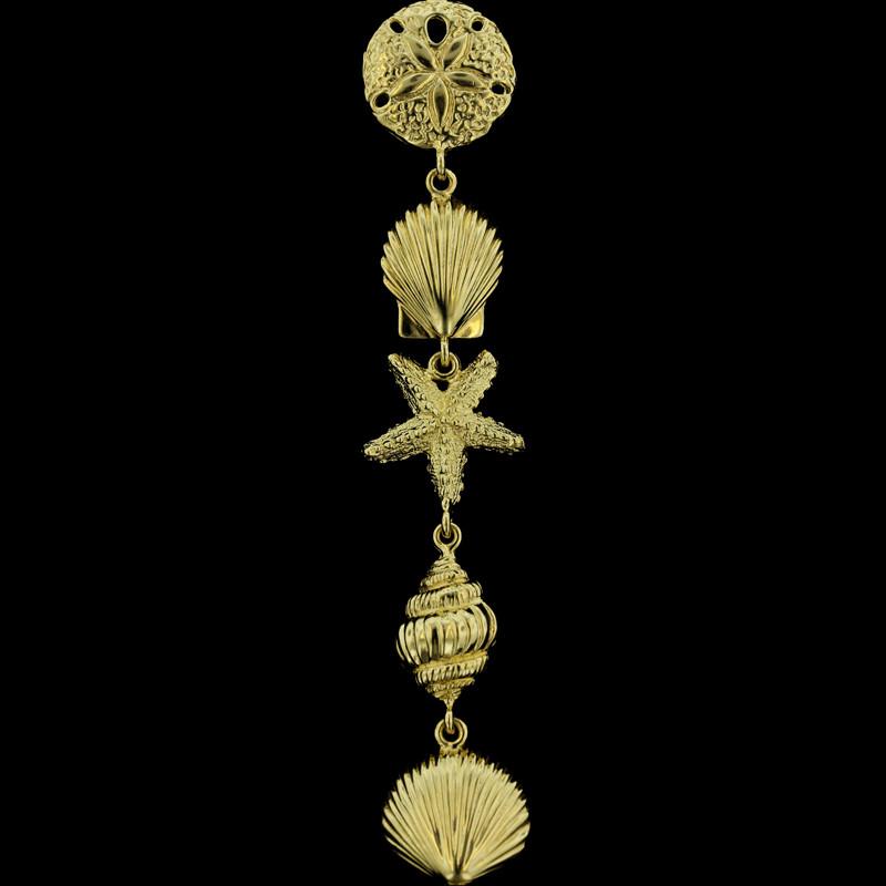 14K_Yellow_Gold_Shell__Starfish_Bracelet Summer Beach Jewelry