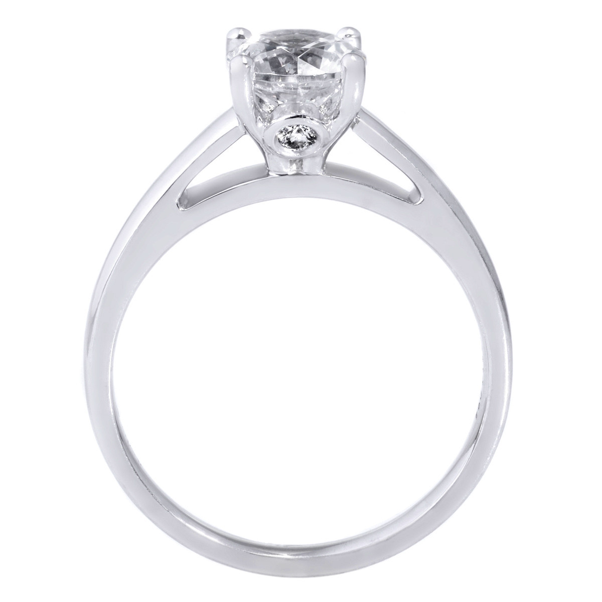 18K White Gold Cathedral Solitaire Engagement Ring with Surprise Diamonds