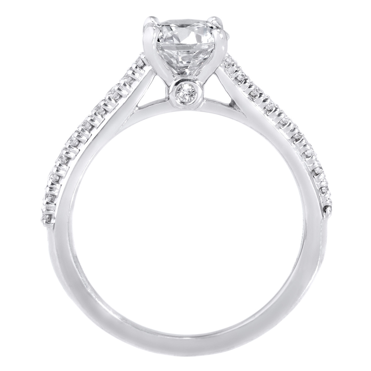 18K White Gold French Set Diamond Band Engagement Ring with Surprise Diamonds