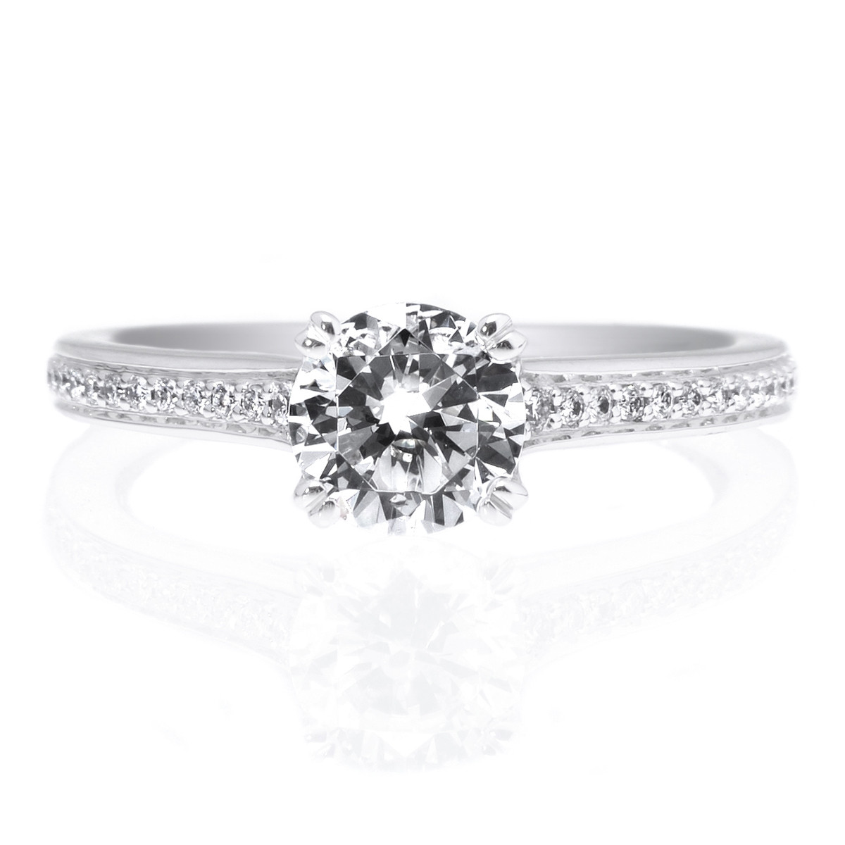 18K White Gold Micropave Diamond Band Engagment Ring with Surprise Diamonds