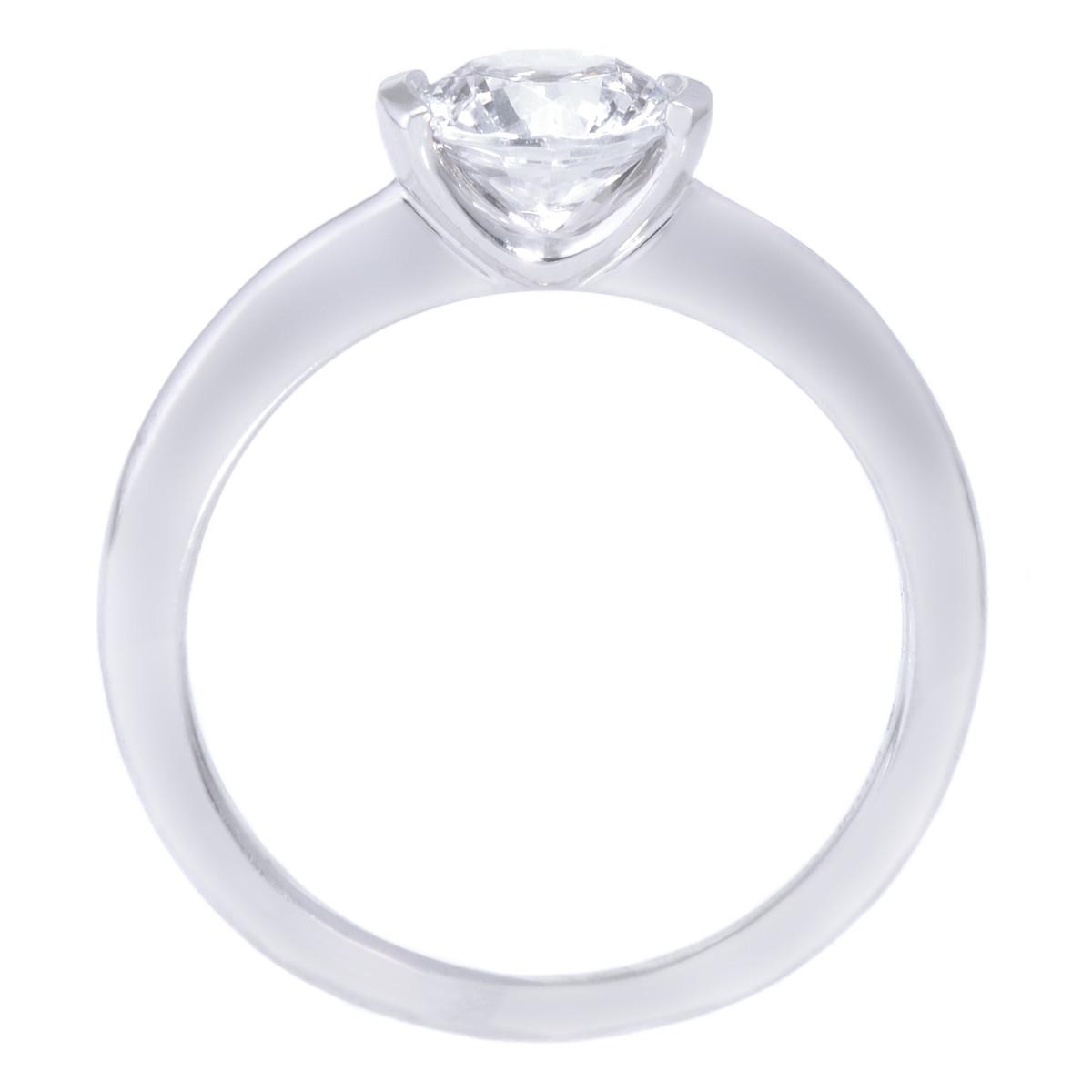18K White Gold Modern Solitaire Semi-Bezel-Set Diamond Engagement Ring by Ritani