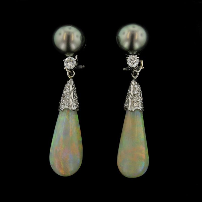 18K White Gold Tahitian Pearl, Opal and Diamond Earrings