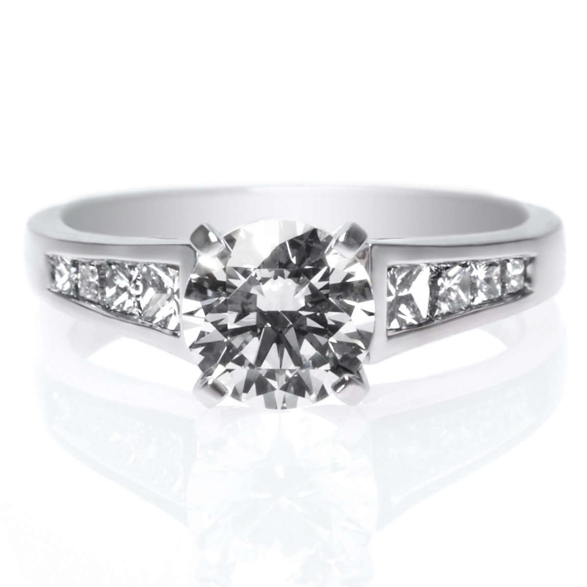 18K White Gold Tapered Princess Cut Channel Set Diamond Engagement Ring