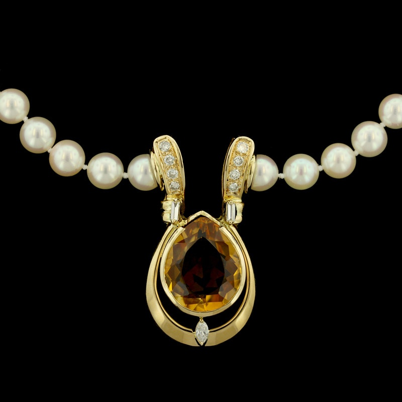 18K Yellow Gold, Citrine, Pearl and Diamond Necklace