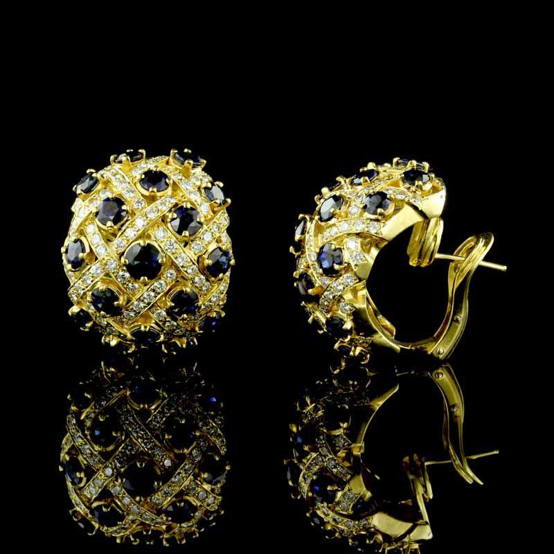 18K Yellow Gold Sapphire and Diamond Earrings