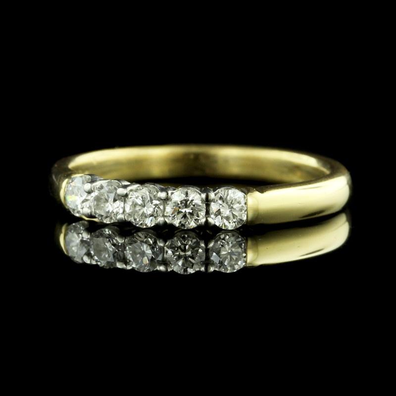 18K Yellow Gold and Platinum Five Stone Diamond Band