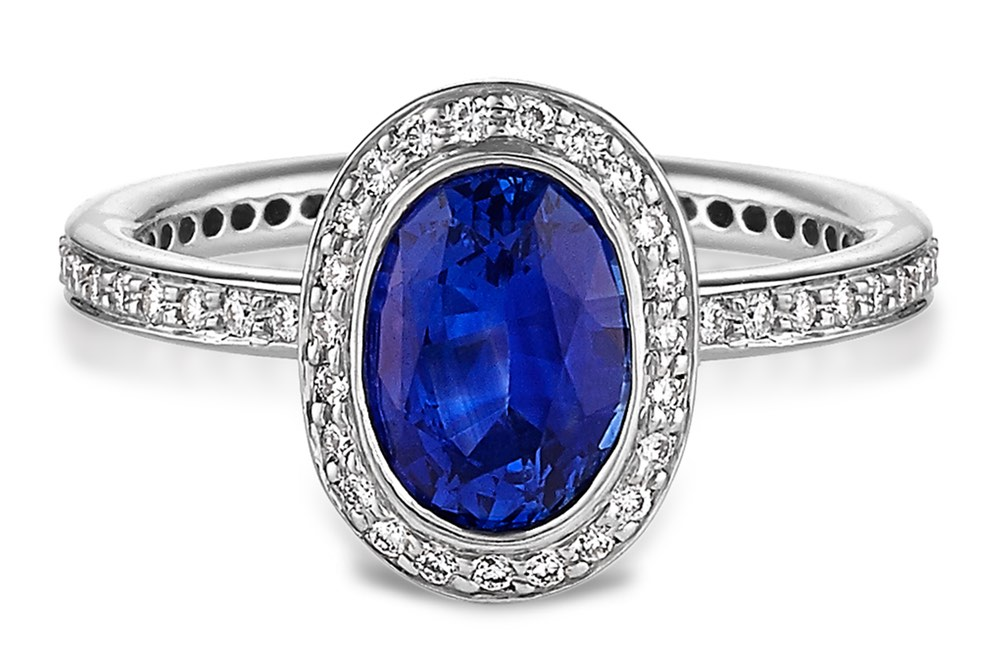 ritani oval sapphire and micropave diamond ring