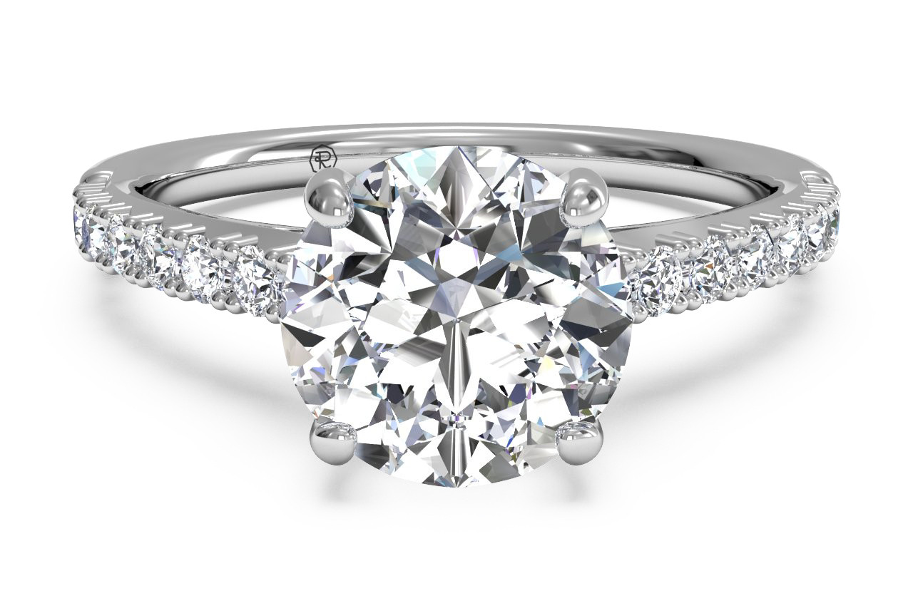 18K White Gold Classic French-Set Diamond Band Engagement Ring