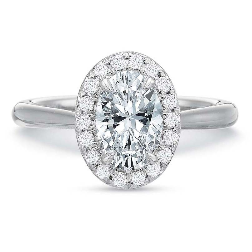 precision set 18k white gold oval diamond engagement ring