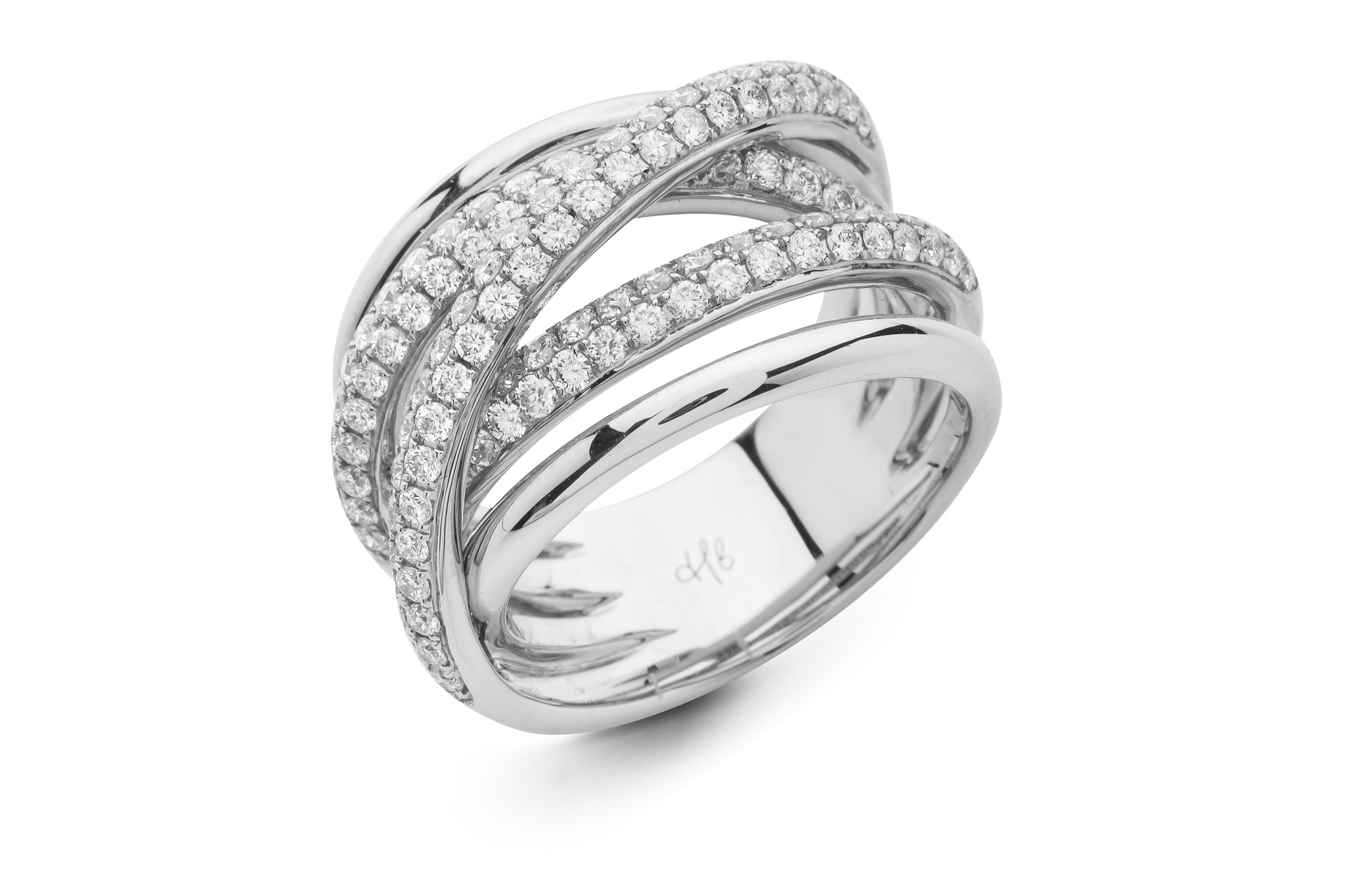 Hulchi Belluni 18K White Gold Diamond Criss Cross Ring