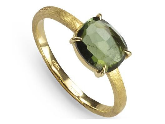 Marco Bicego Delicati 18K Hand Engraved Yellow Gold Ring w/ Green Tourmaline