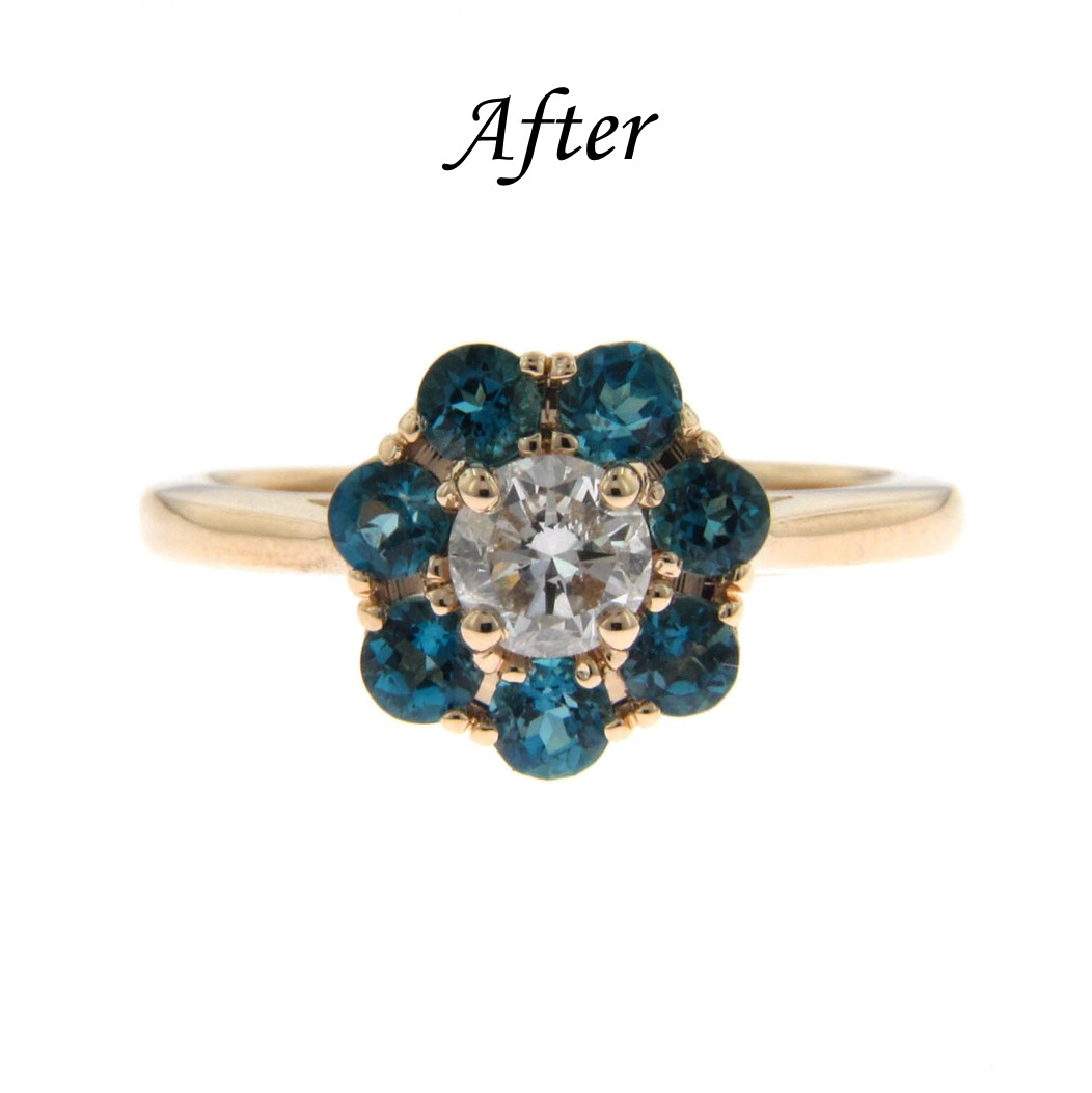 6 Ways To Reset Your Solitaire Engagement Ring - Add Colored Stones