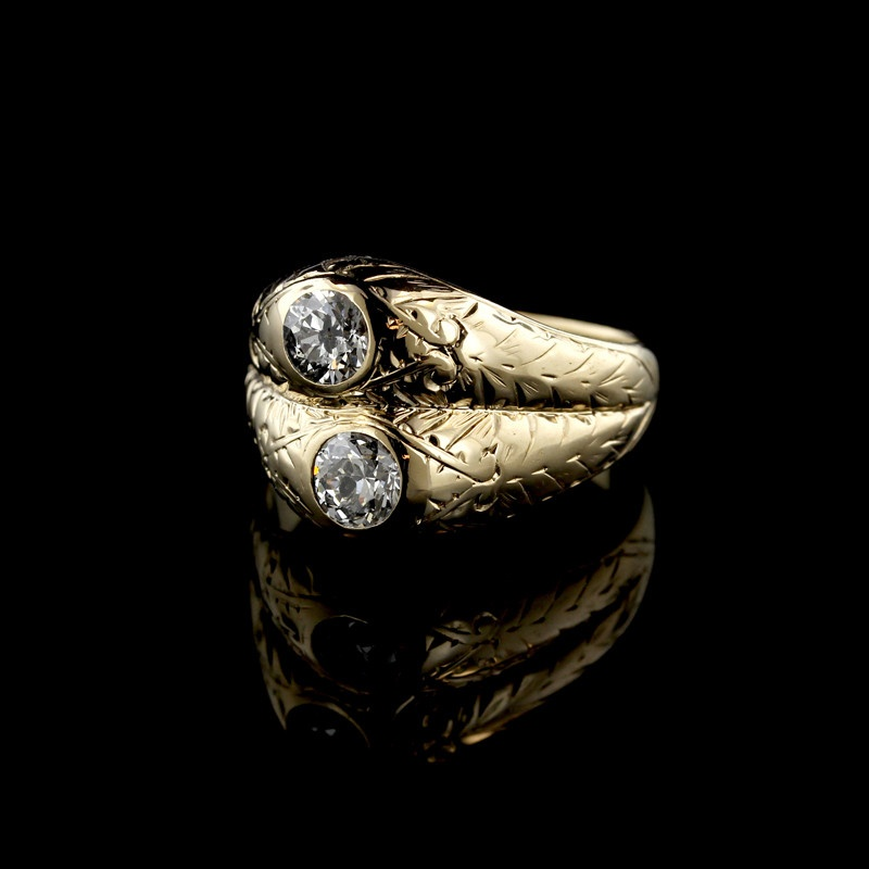 Antique 14K Yellow Gold Diamond Twin-Stone Ring