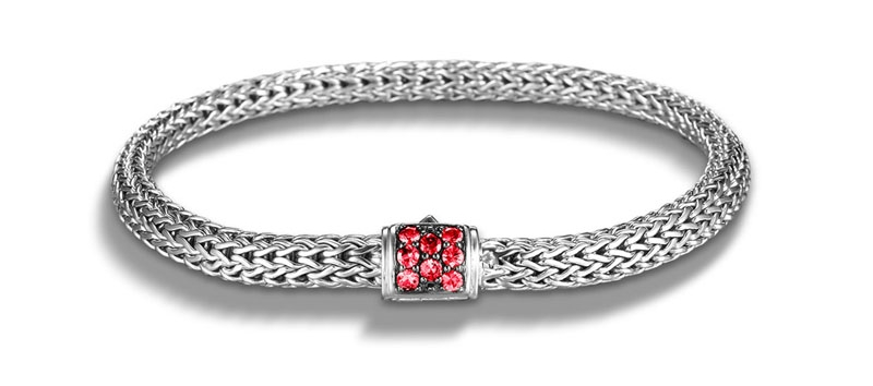 John Hardy Classic Chain Bracelet with Red Sapphires