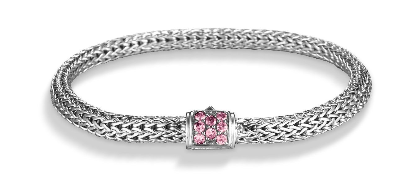 John Hardy Chain Bracelet with Pink Spinels