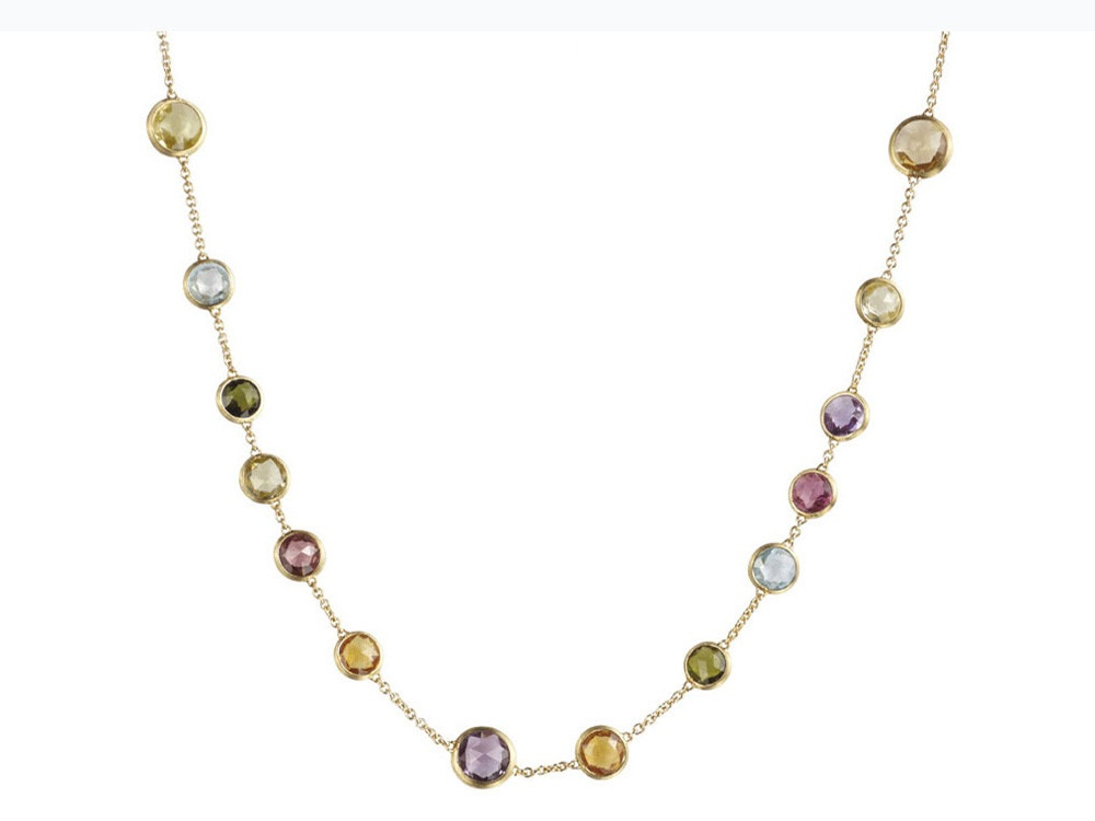 Marco Bicego Jaipur 18K Hand Engraved Necklace w/ Multicolored Stones