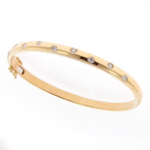 Long's Yellow Gold Spaced Diamond Bangle Stacking Bracelets