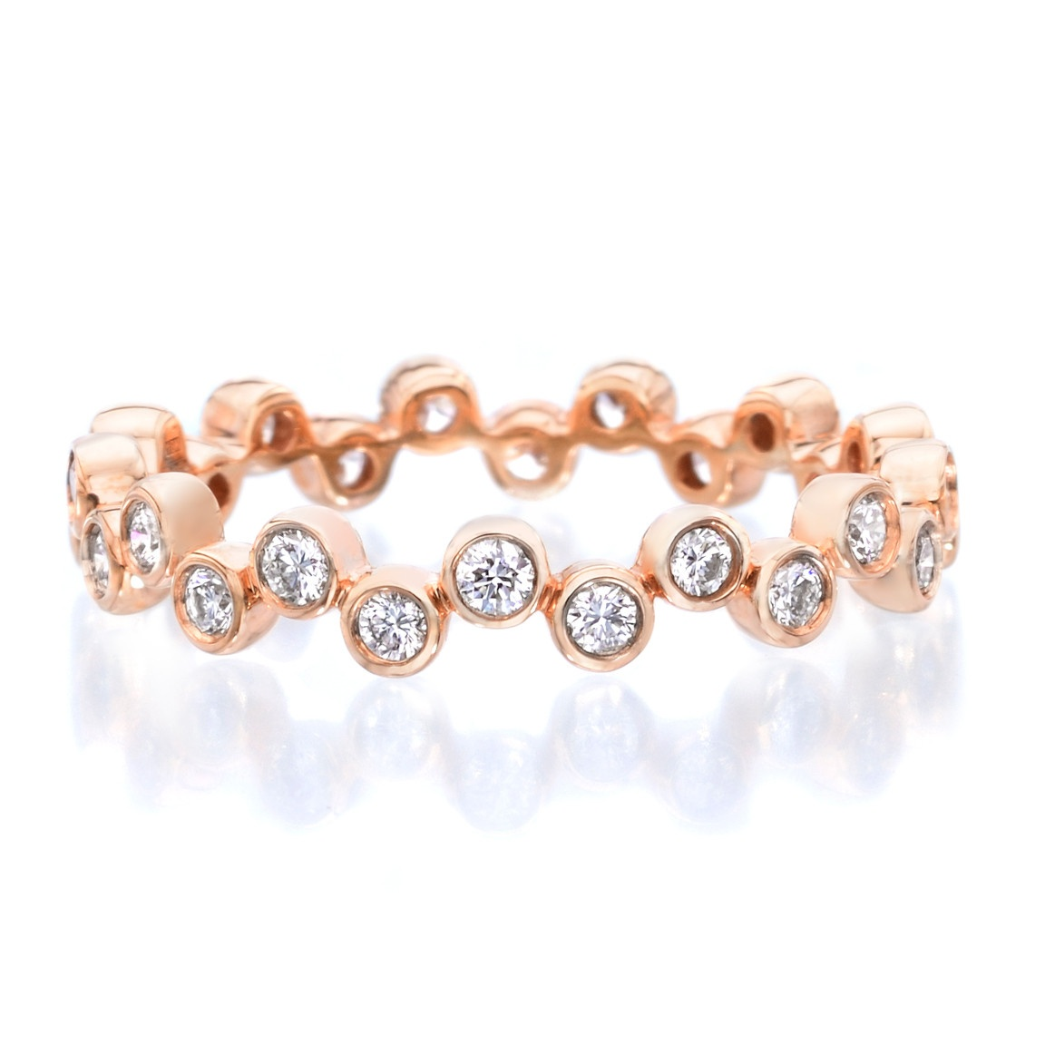 A. JAFFE Rose Gold Modern Bubble Diamond Stacking Ring