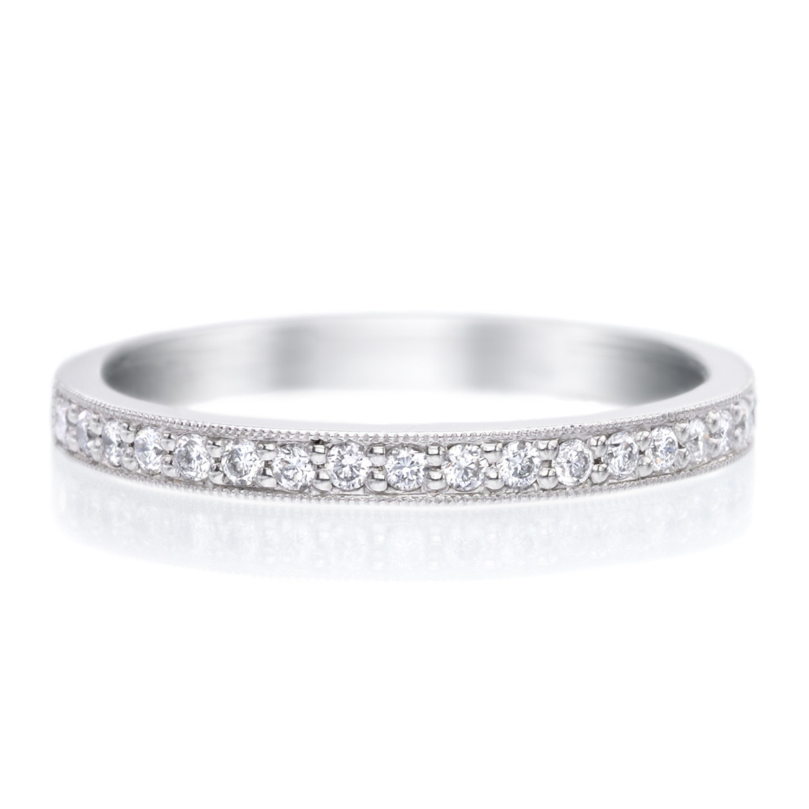 Long's Platinum Bead Set Diamond Band with Milgrain