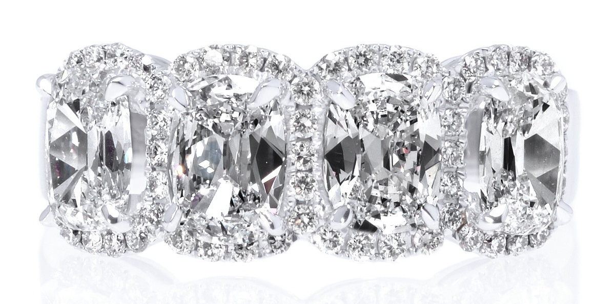 18K White Gold Four Stone Cushion Cut Diamond Halo Ring