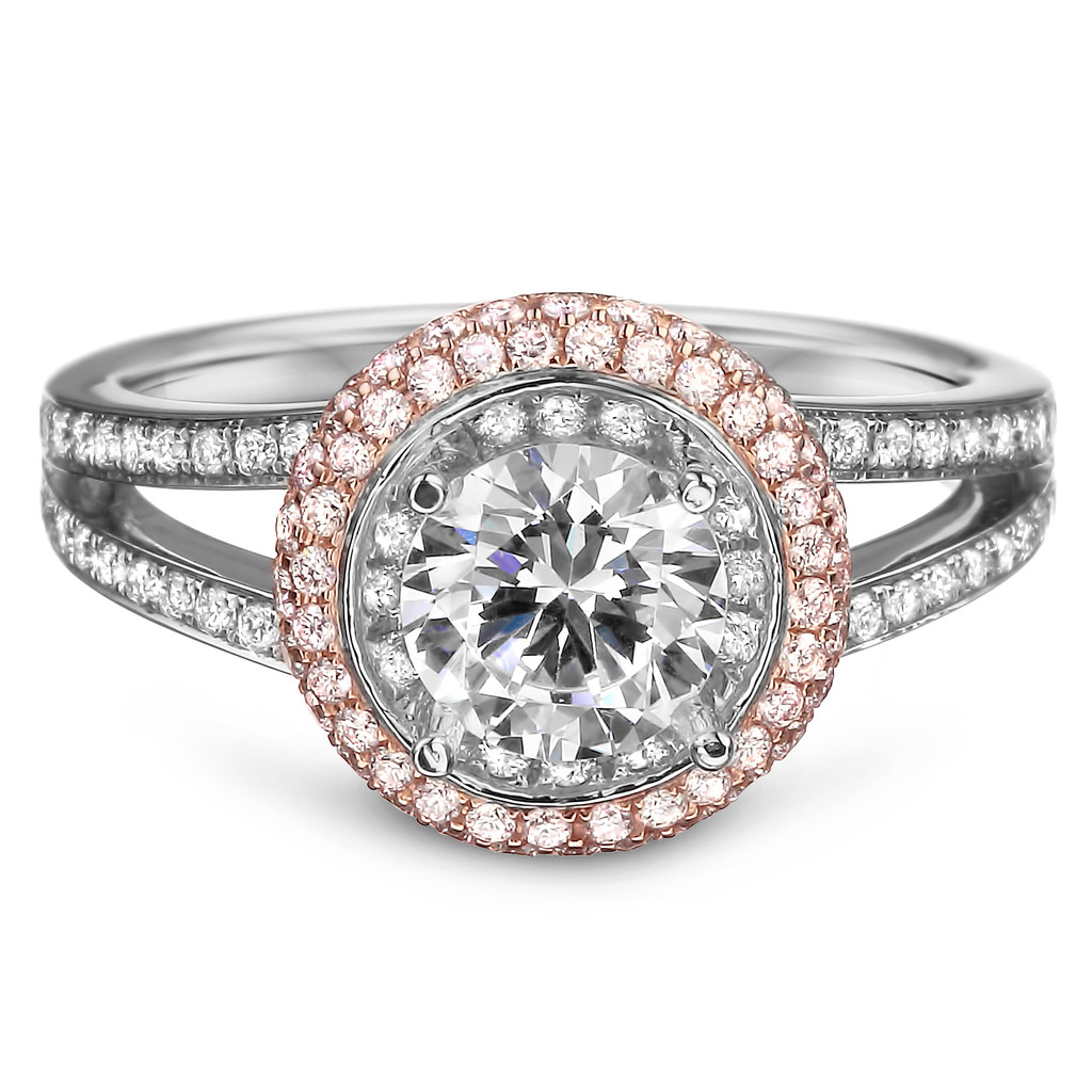 18K White and Rose Gold Natural Pink Diamond Engagement Ring