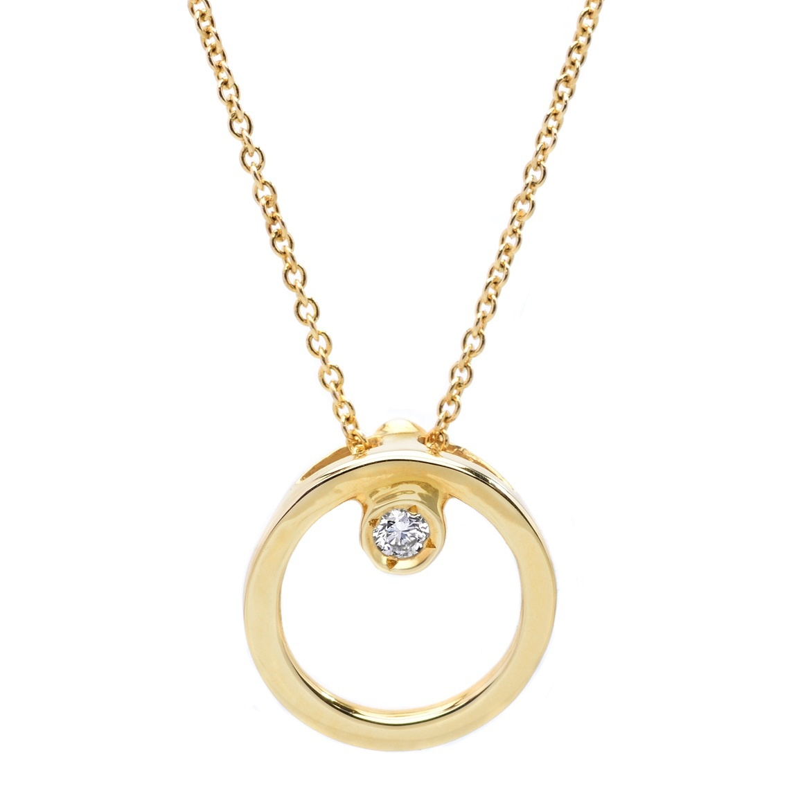 Roberto Coin Single Diamond Circle Necklace