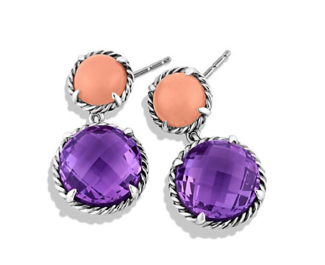 David Yurman Chatelaine Amethyst and Guava Quartz Drop Earrings