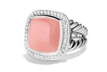 David Yurman Albion Ring 14mm Guava Quartz with Diamonds