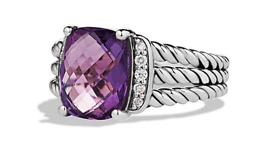David Yurman Small Wheaton Ring in Amethyst with Diamonds