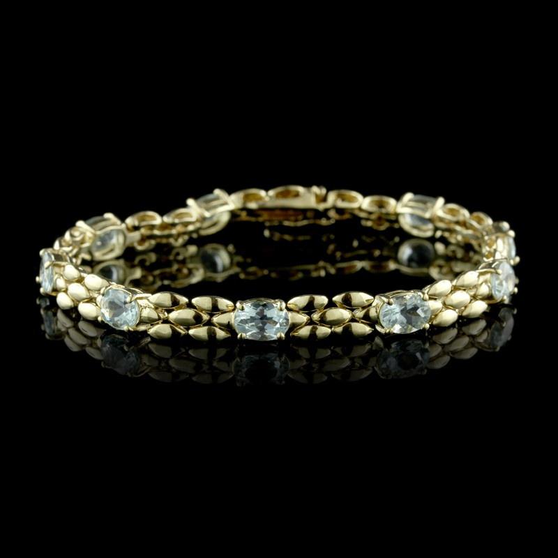 14K Yellow Gold Aquamarine Bracelet