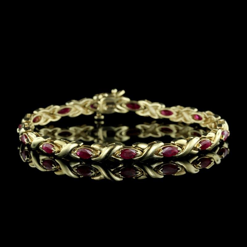 14K Yellow Gold Ruby Bracelet