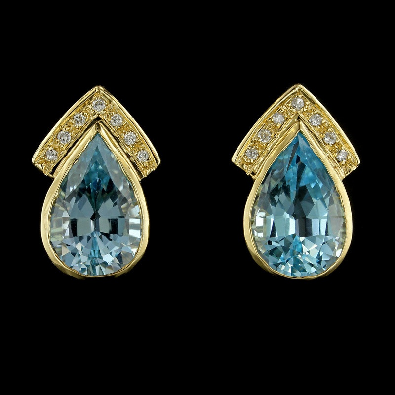 Yellow Gold Blue Topaz and Diamond Earrings