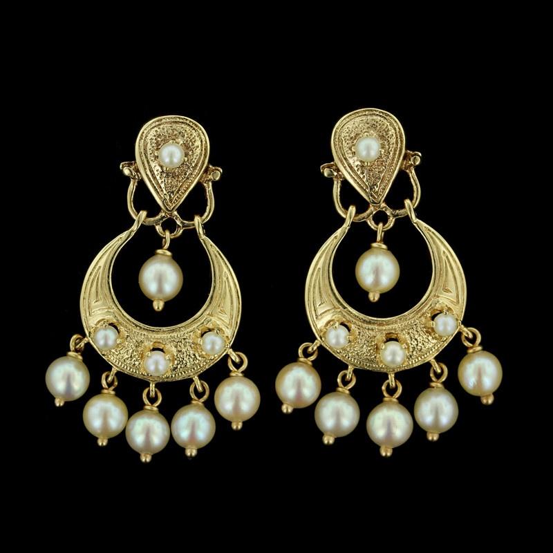 Yellow Gold Pearl Drops