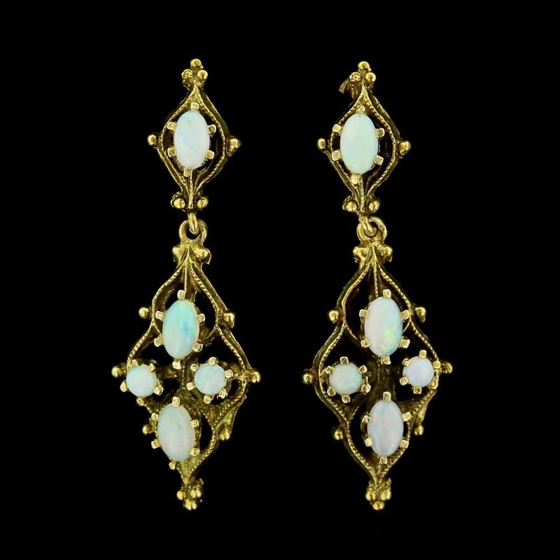 Yellow Gold Opal Drop Earrings