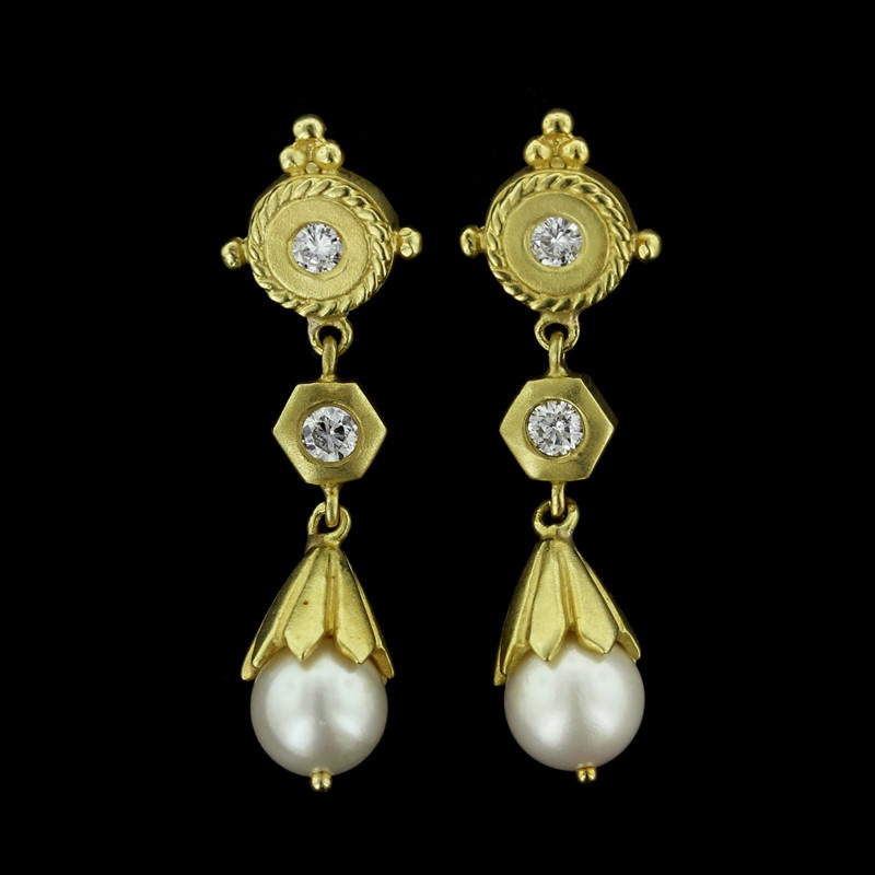 Yellow Gold Pearl and Diamond Drops