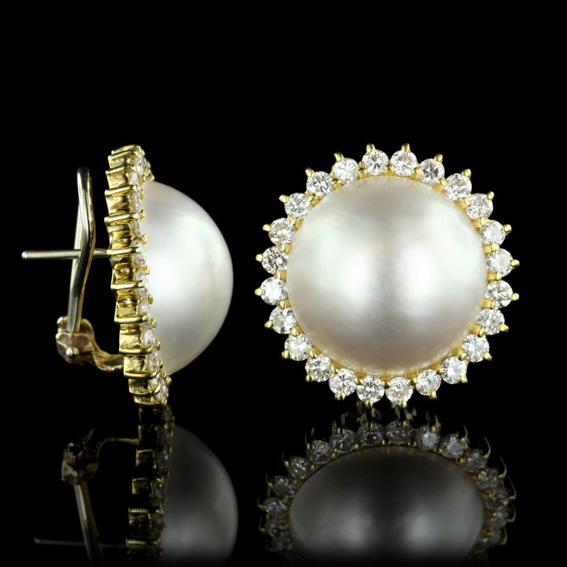 Yellow Gold Mabe Pearl and Diamond Earrings
