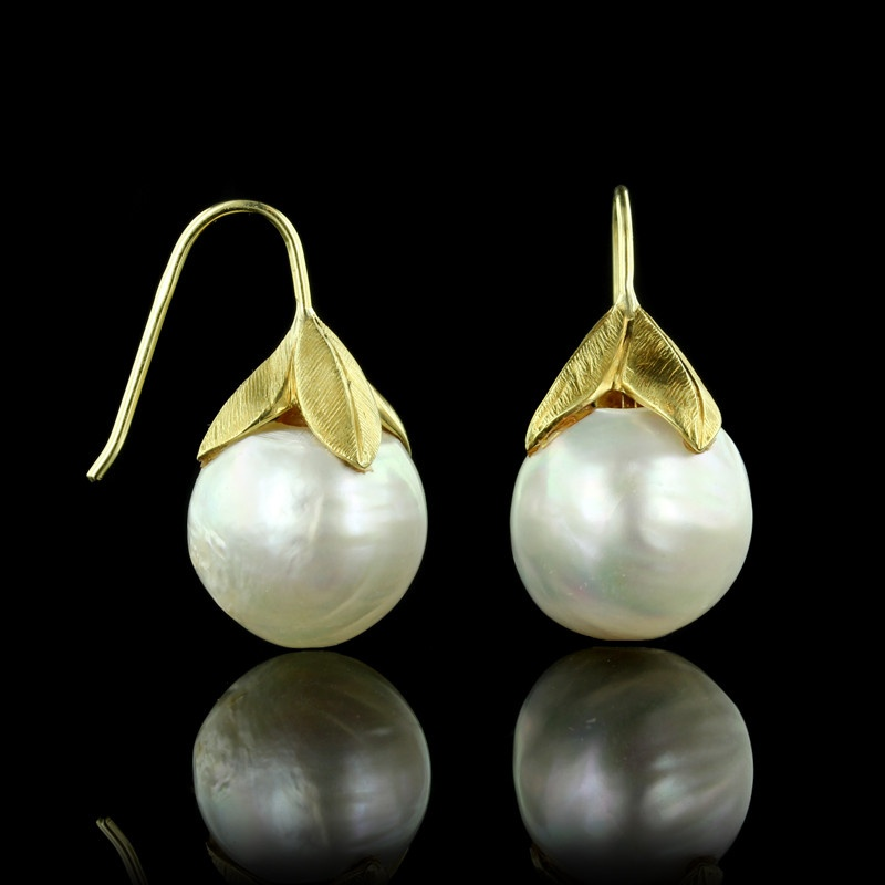 Yellow Gold Baroque South Sea Pearl Earrings