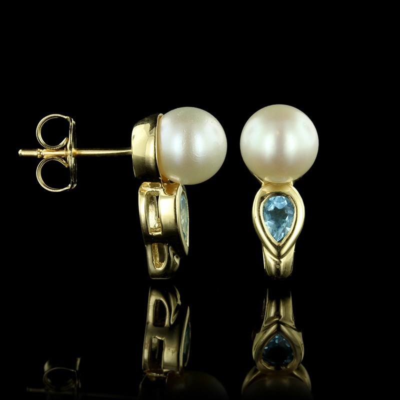 14k yellow gold cultured pearl and blue topaz earrings
