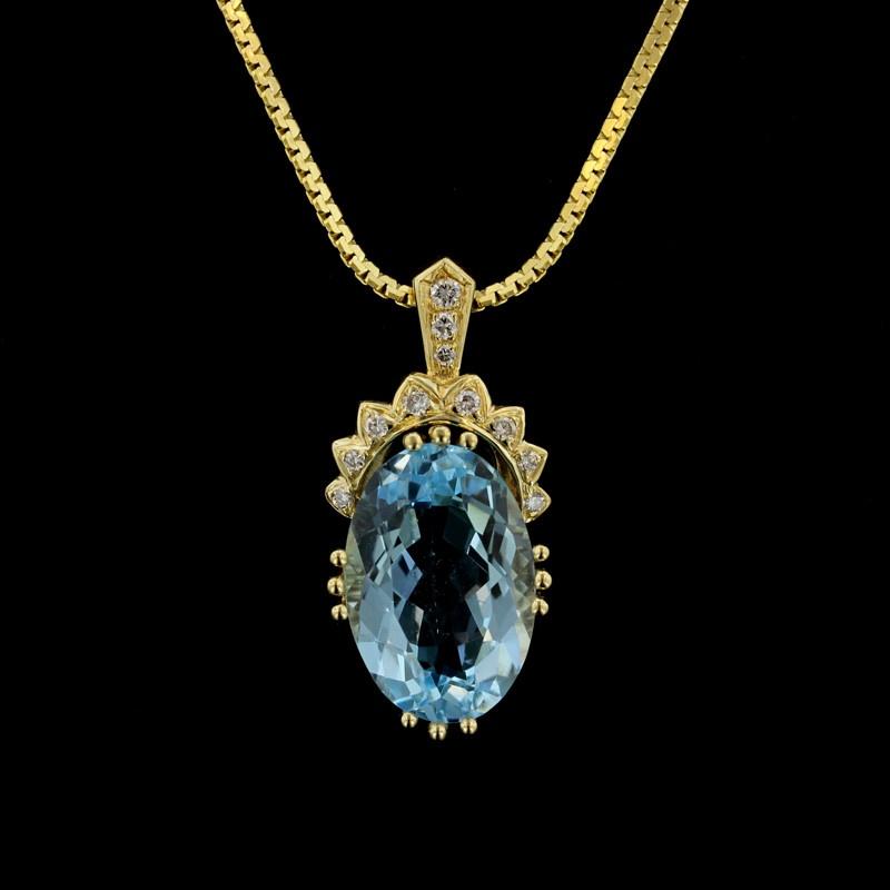 Yellow Gold Blue Topaz and Diamond Pendant