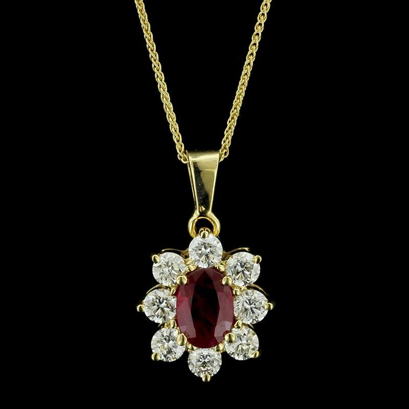 18K Yellow Gold Ruby DIamond Pendant