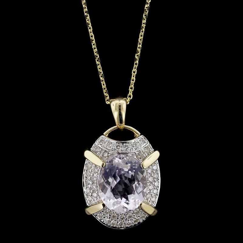 14K yellow gold kunzite and diamond pendant
