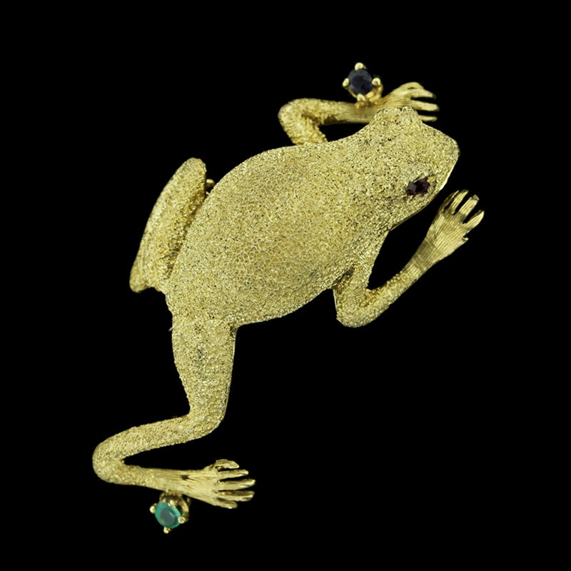 Cheany Yellow Gold Gem-Set Frog Pin