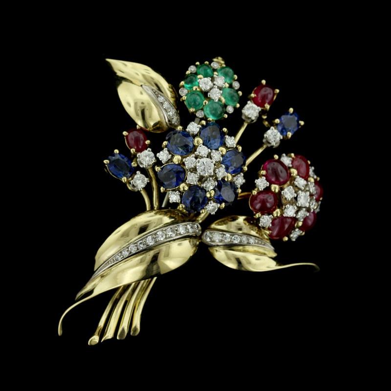 Yellow Gold Gem-Set Flower Pin