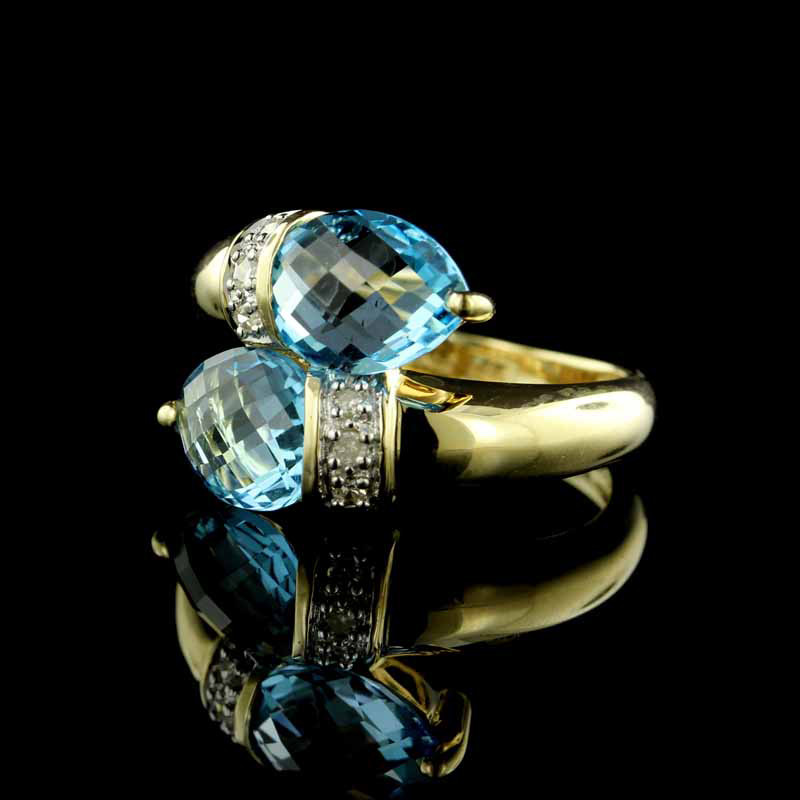 Yellow Gold Blue Topaz and Diamond Bypass Ring