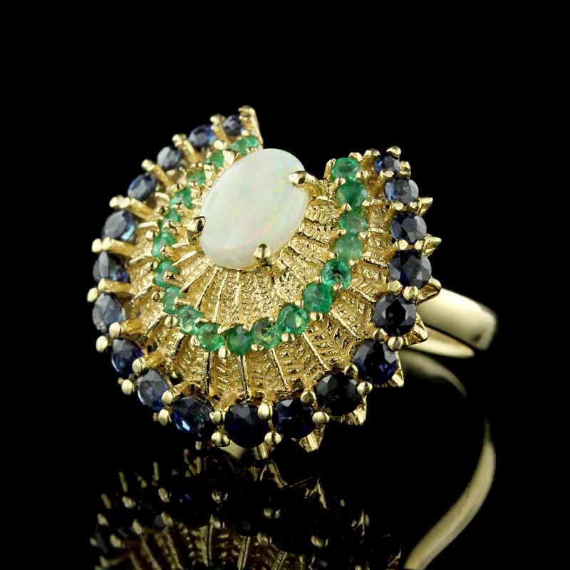 Yellow Gold Gem-set Peacock Style Ring